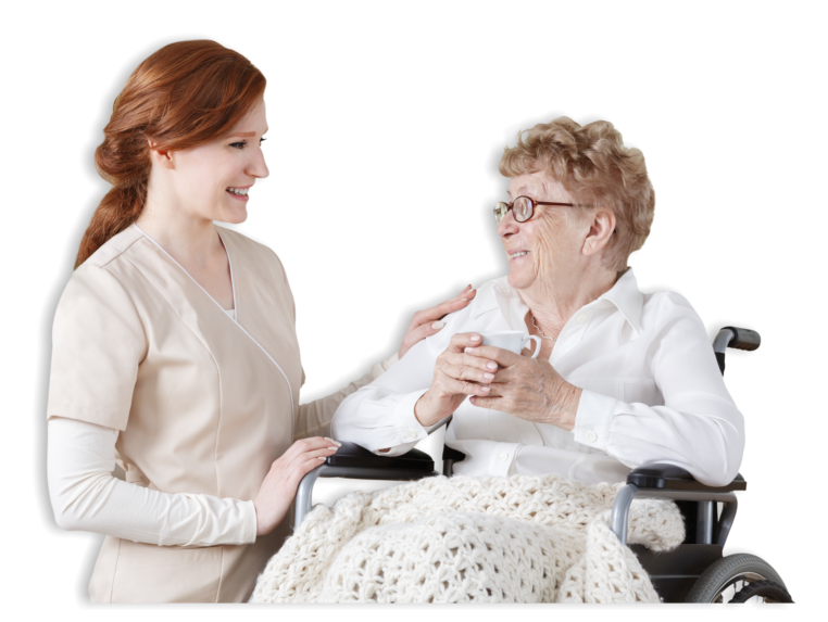senior woman and caregiver looking at each other